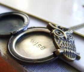Antiqued Brass Secret Word Locket with Owl - Wise