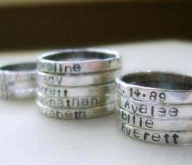 Fine Silver Personalized Stacking Ring - ONE Rustic Hand-Stamped Ring