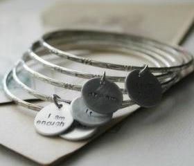 Recycled Silver Bangle with Hand-Stamped Word Disc - Inspirational ONE bangle charm bracelet